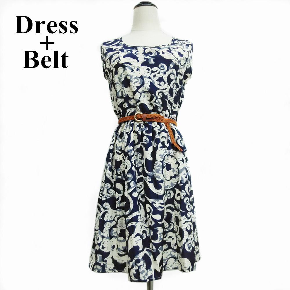 9646df8178c New F H 2015 Spring Summer Clothing Casual Plus Size Vestidos Women S  Vestido De Festa Party Dress + Belt Flower Prints Dresses Dresses Cocktail  Party Party ...