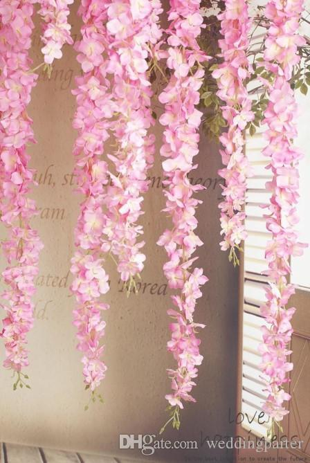 De lujo Artificial Seda Wisteria Flores Para DIY Boda Arco Plaza de Ratán Simulación Flores Inicio Colgante de Pared Cesta Decoraciones