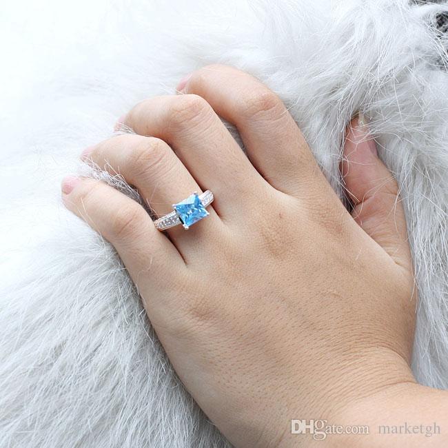 جديد الملكي بيغيني الأميرة قص الأزرق توباز أصيلة 925 فضة الطوق الاشتباك الأحجام الألوان للاختيار خدمة الحفر المتاحة
