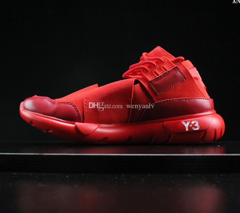2019 All Red Color Mens Y3 Qasa High Top Sneakers Good Quality Womens Shoe  Unisex Men Y 3 Black White Running Shoes Boots Size 36 45 From Wenyanlv bd74dbed4
