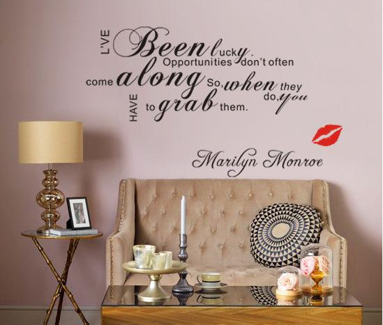 Marilyn Monroe Lip IVe Been Lucky Vinyl Wall Art Decals Quotes - Custom vinyl wall decals saying