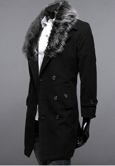 Neue Männer Slim RiPel Pelzkragen Doppelrei Breasted Design Casual Wollstaubmantel Trenchcoat Jacke Mantel Größe M-XXL A063