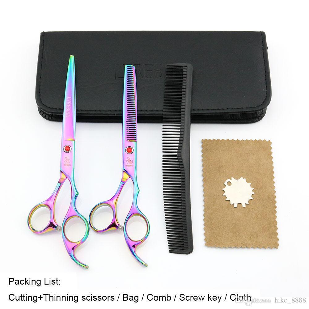 Ciseaux à cheveux 7 pouces Ciseaux à couper 6.5 pouces Ciseaux à effiler LYREBIRD Rainbow Dog Ciseaux de toilettage NOUVEAU