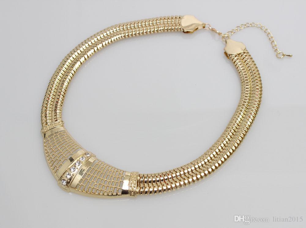 Frete Grátis 18 k Gold Filled Dubai Africano Branco Cristal Austríaco Colar Pulseira Brinco Anel de Casamento / Noiva Conjunto de Jóias