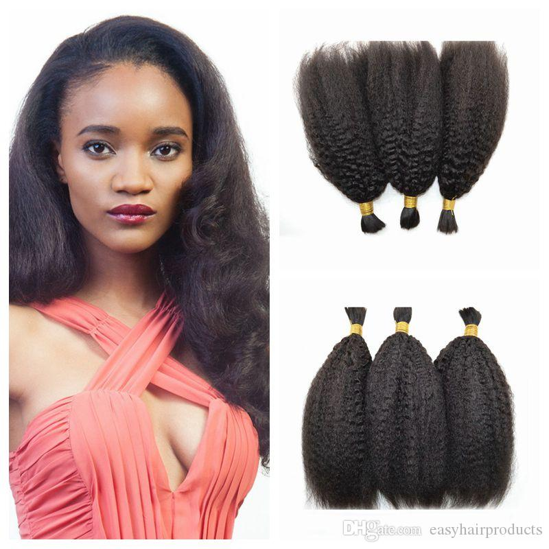 Virgin Peruvian Bulk Human Hair Extensions Kinky Straight Braiding