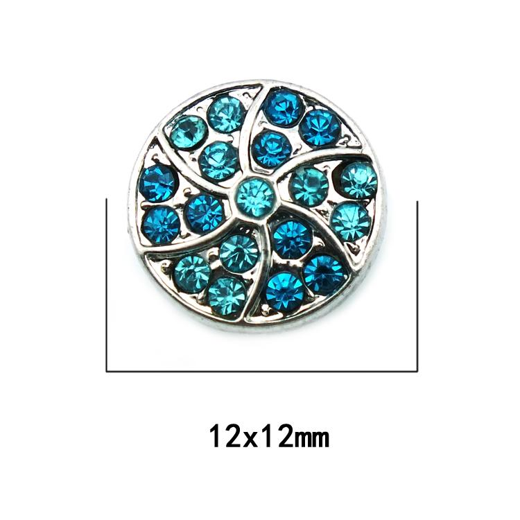 New Fashion 12mm Small Snap Buttons Two Color Rhinestone Flower Ginger Clasps DIY Noosa Bracelets Jewelry Accessories