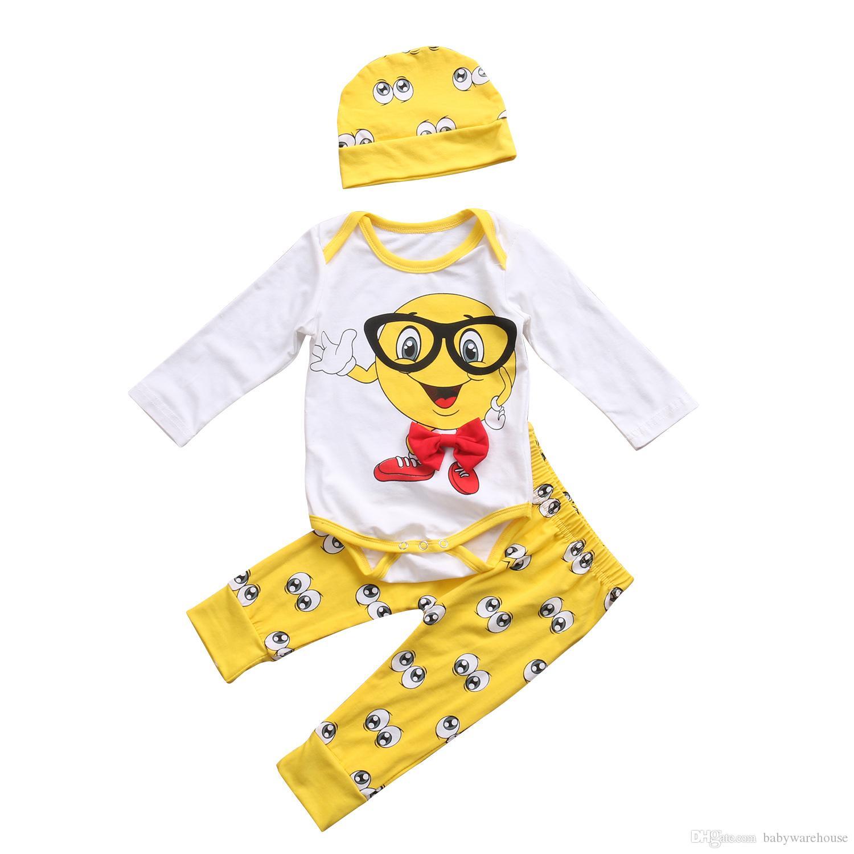 2017 Cute Newborn Baby Clothes Boys Girls Outfit Cartoon Pattern