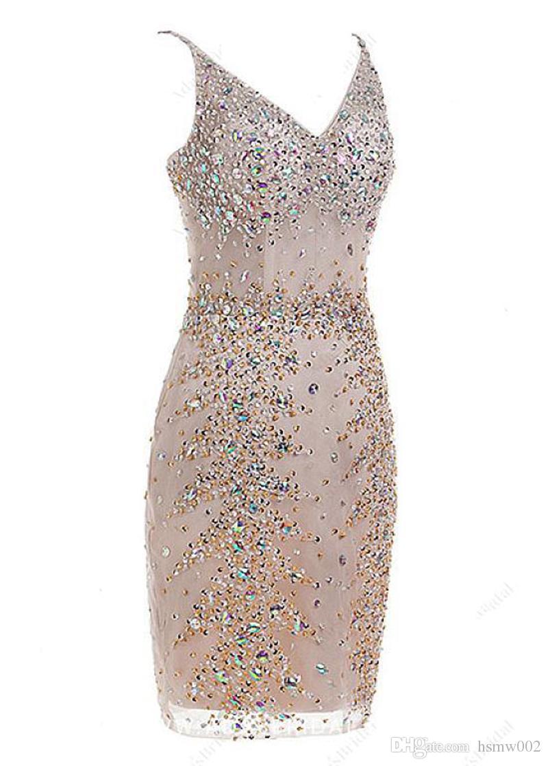 Luxo vestidos curtos Prom Sereia Spaghetti Beading Cristal Mini Prom vestido de festa Champagne real Custom Made vestidos de noite formal