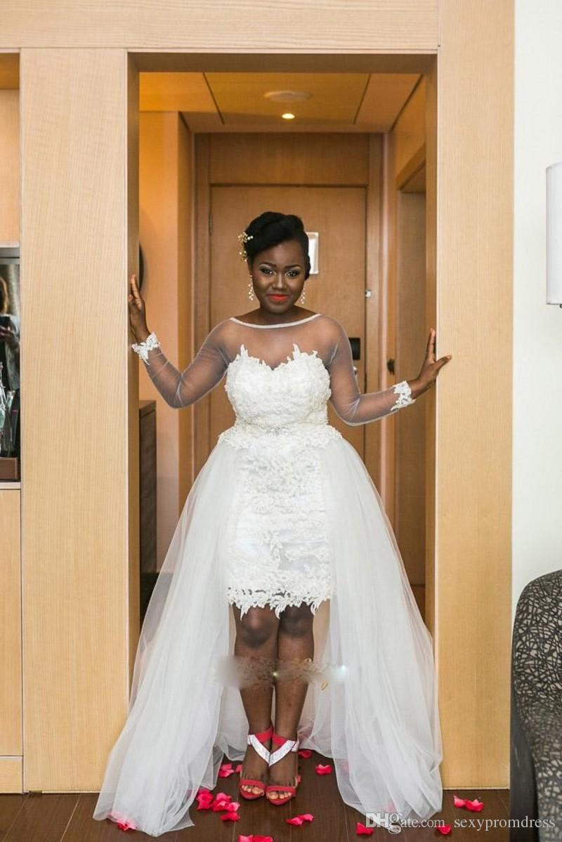 South Africa Style Wedding Dresses 2016 Sheer Neck Illusiong Long Sleeve Lace Short Bridal Gowns With Tulle Overskirts Hi-Lo Wedding Dresses