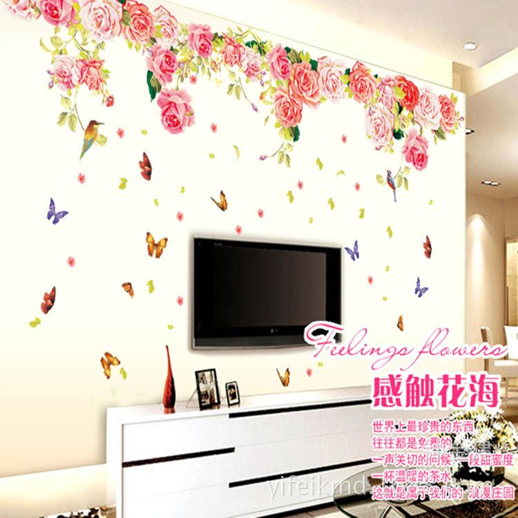 Blomming Roses Large Love Wall Sticker Decoration For Tv Living Room  Butterfly Full Wall Decals Floral