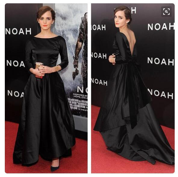 Emma Watson Black Court Train Prom Dresses Red Carpet Evening Formal ...