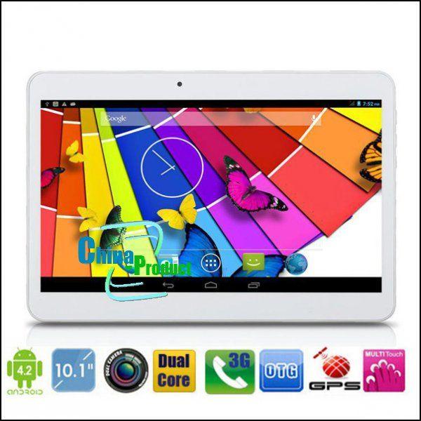 Neue kommen Dual-SIM-Karte 10-Zoll-Tablet PC MTK6572 Dual-Core 1GB 8GB Android 4.2 WCDMA 3G GSM-Telefon Anruf Phablet 1024 * 600 Dual-Kamera 002471