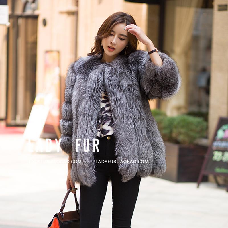 Best 2015 Autumn Winter Coat Warm New Silver Fox Fur Coat ...