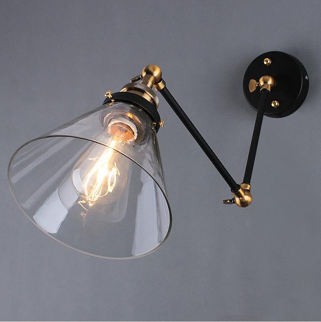 retro swing arm wall lamp sconces glass black plug in sconce restoration hardware australia
