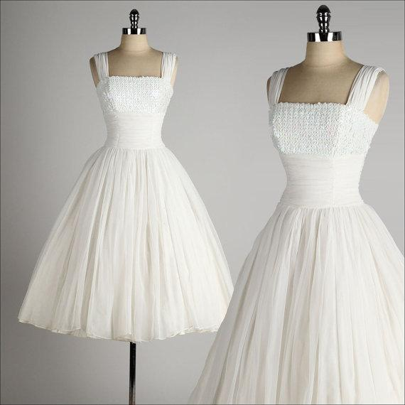 Vintage 1950\'S Style Wedding Dresses Ball Gown Tea Length Little ...