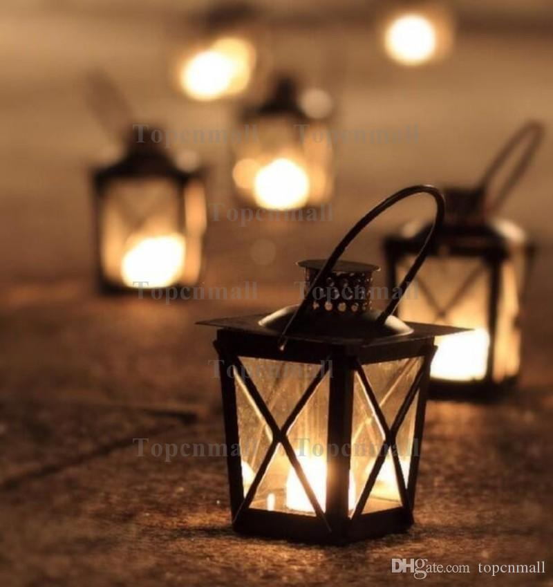 Black/White Metal Candle Holders Iron Lantern Hanging Candlestick Wedding Candelabra Centerpieces Decoration TPML-4235