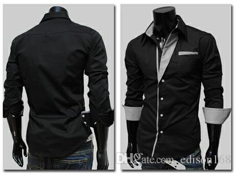 algodão fino camisas masculinas nova moda manga longa caber elegante camisa yf140 Vestido