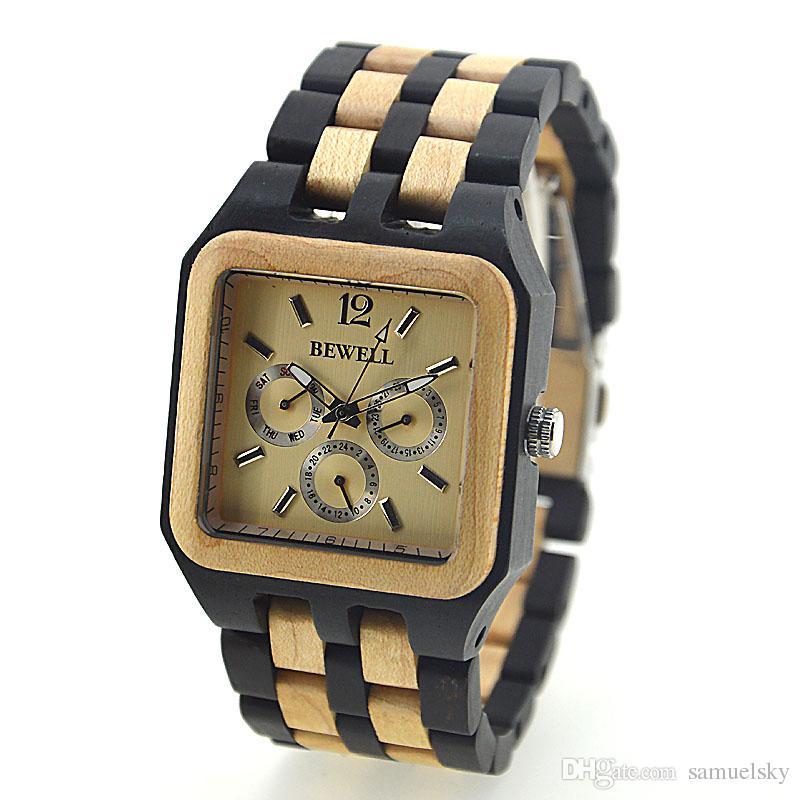 Classique hommes Tense Wood horloge carrée cadran vintage élégant rouge bois de santal érable montre-bracelet pour papa semaine date fenêtre en bois chaîne montres