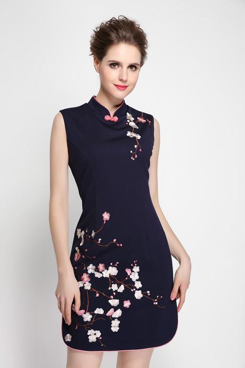 빈티지 자수 여성 칼집 드레스 스탠드 칼라 드레스 0216001