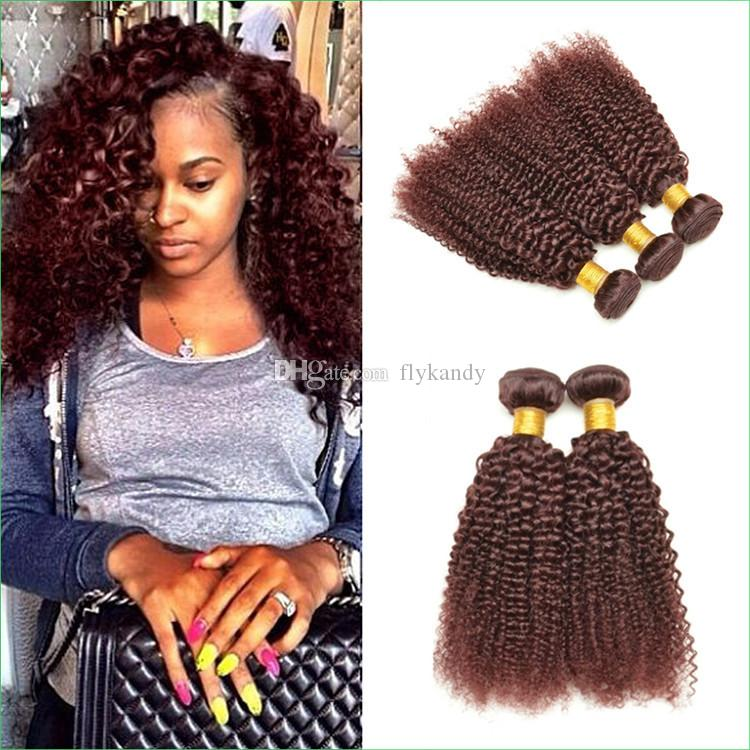 Red Burgundy Afro Kinky Curly Hair Extensions Authentic 99j