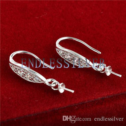 Hook Earring Settings with Peg Blank Base 925 Sterling Silver Zircon Mountings Jewellery Findings for Pearl Party