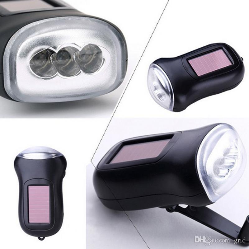 Grid Mini Solar Power 3 LEDs Flashlight Hand Crank Dynamo Camping Lights Holiday Lights Christmas Xmas Gift