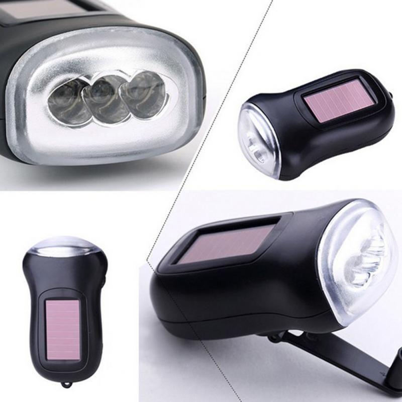 Mini Solar Power 3LED Flashlight Hand Crank Dynamo Camping lights Holiday Lights Christmas Xmas gift