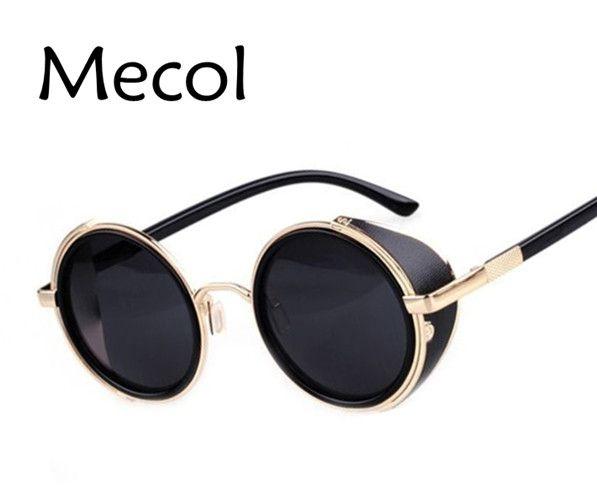 39782ac0b9f12 Wholesale-Steampunk Sunglasses Round Glasses Goggles Men Women Side ...