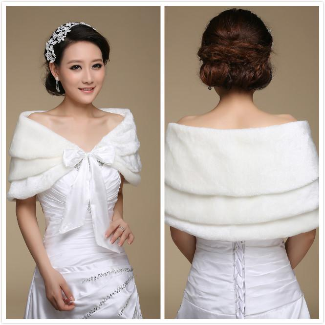 e335733279a 3 Layers Ivory Faux Fur Bridal Wraps Women Shawl Cape Stole Bridal Shrug  Wrap Cape Wedding Shawl Wrap Bolero Jacket Free Shipping