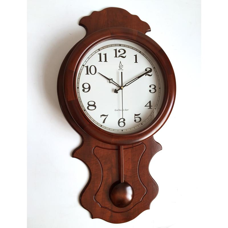 High Grade Large Wooden Wall Clock Pendulum Living Room Villa Mute Quartz Movement Japanese Sweep Kitchen Clocks From