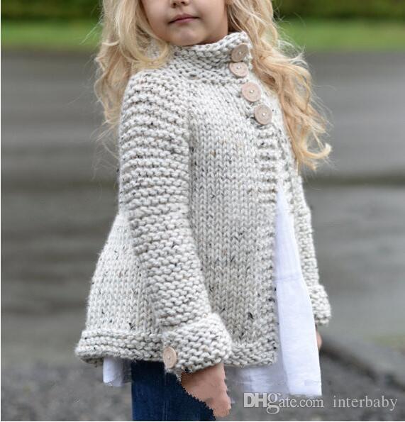 Ropa de bebé INS Sweaters Niñas Princesa Party Knitwear Niños Jersey de punto Invierno de manga larga Jumper Abrigo de moda Abrigos Chaquetas B3505