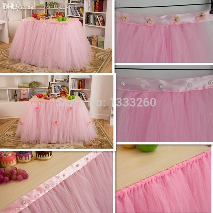 Best Wholesale Tulle Tutu Table Skirting Designs For Wedding,Banquet Table  Skirt With Ribbon And Pearls / Small Flowers Under $29.23 | Dhgate.Com