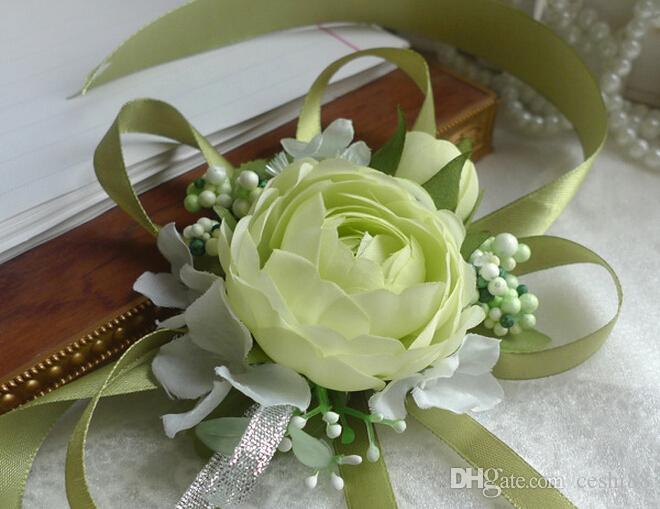 Wedding Prom Wrist Corsage, Silk Rose Flower with Ribbons, white, light green, champagne, rose red, purple, pink, yellow