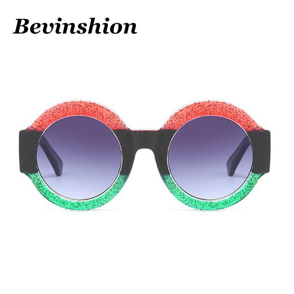 Großhandel Marke Vintage Drei Farbe Rahmen Runde Sonnenbrille Frauen ...