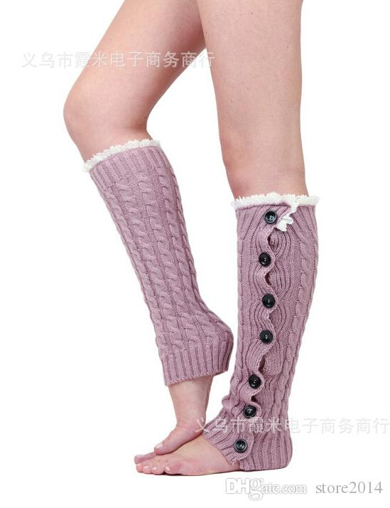 5 pçs / lote mais novo mulheres meninas perna aquecedores de botão para baixo boot algemas guarnição do laço polainas bota meias de crochê perna aquecedores de malha perna aquecedores tk2