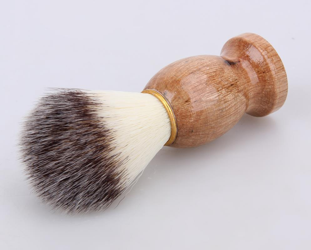 الرجال شعر الغرير فرشاة الحلاقة الحلاقة صالون حلاقة شعر الوجه اللحية تنظيف الأجهزة أداة الحلاقة فرشاة مع مقبض الخشب للرجال