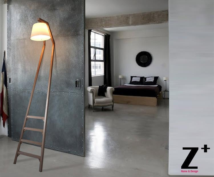 Replica item sleep wood made ladder floor lamp e27 led designer lamp see larger image mozeypictures Images