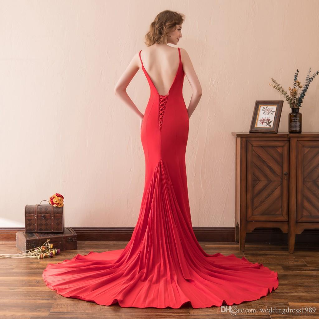 Sirena sexy Vestidos de noche rojos Vestidos Tren Sin mangas Sin espalda Satén Barato Cuello en V Stock 2-16 Vestido de fiesta largo Prom Formalt