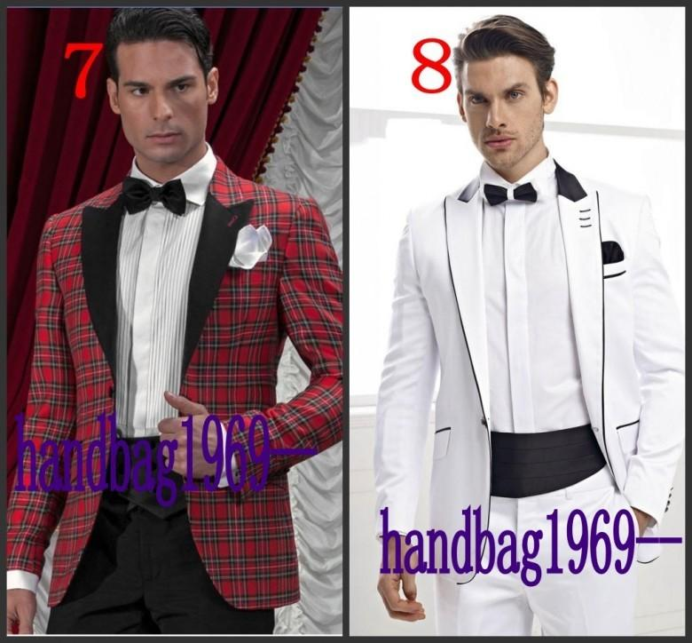 High Quality New Arrivals 16 Models Optional Groom Tuxedos Groomsmen Mens Wedding Clothing Prom Suits Jacket Pants Girdle Tie AA1251