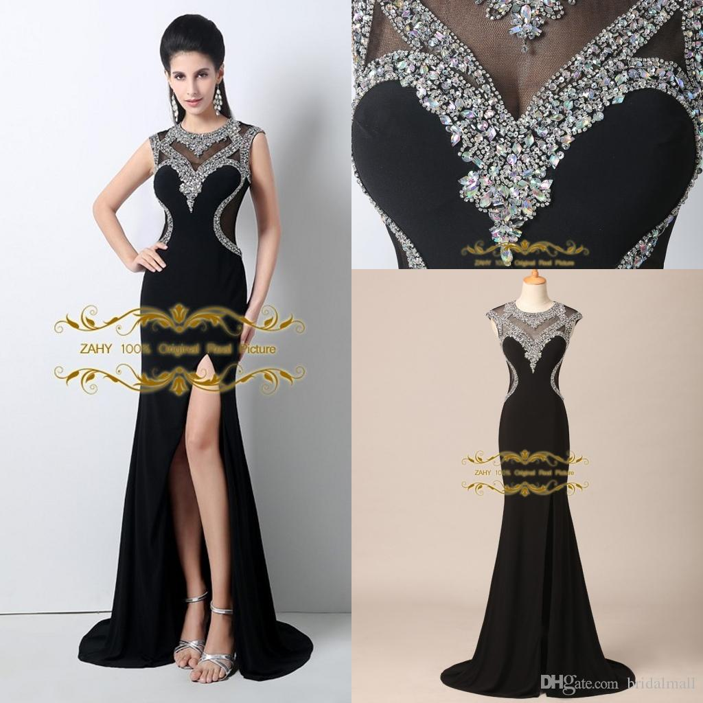 2015 Black Evening Dresses Jewel Sequins With Chiffon Sweep Train ...