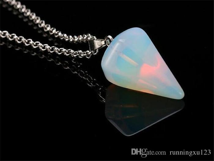 Collar Colgante de Piedras Preciosas Naturales Cristal Curativo Chakra Reiki Plata Piedra Hexagonal Prisma Cono Pendulum Charm Collares R071