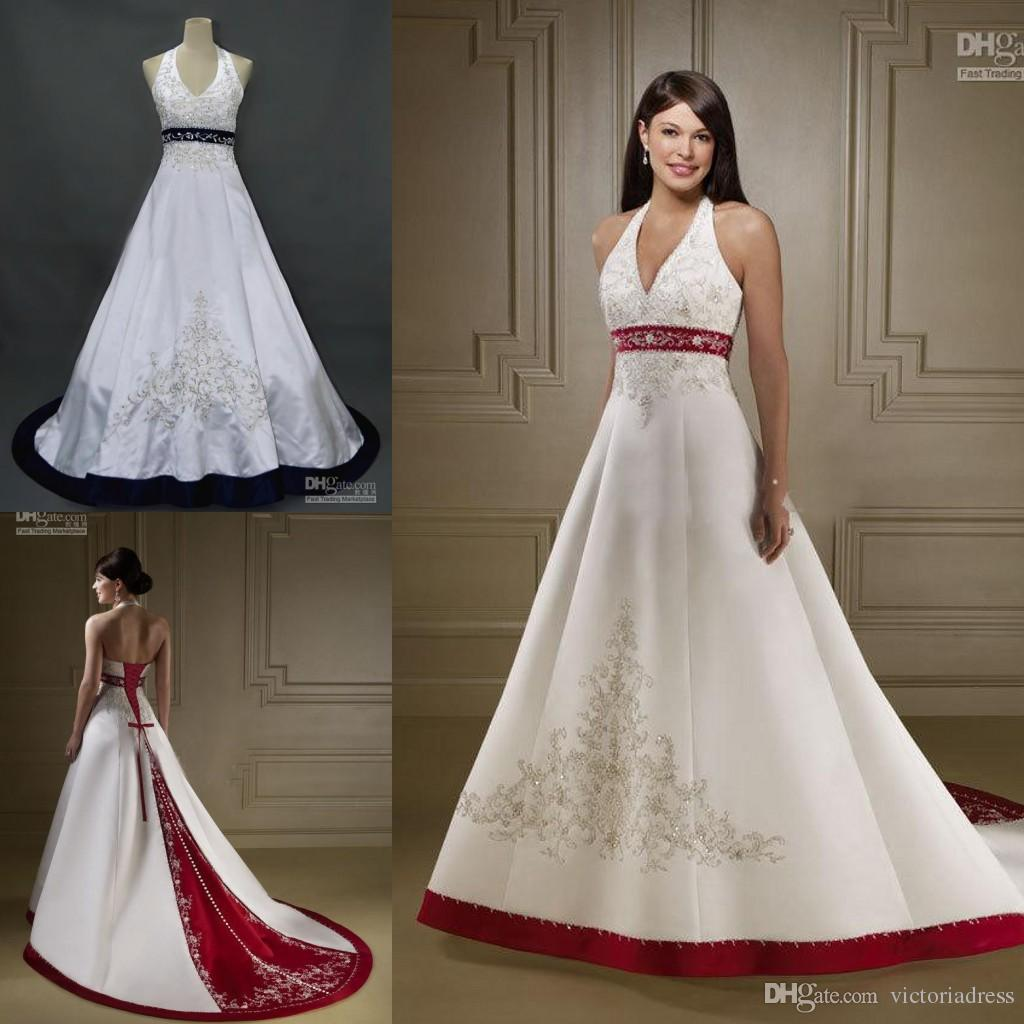Discount Muslim White And Red Wedding Dresses Halter Neckline Sleeveless  Appliqued Embroidery Open Back Lace Up A Line Bridal Gowns With Train Fx  Cheap Plus ...