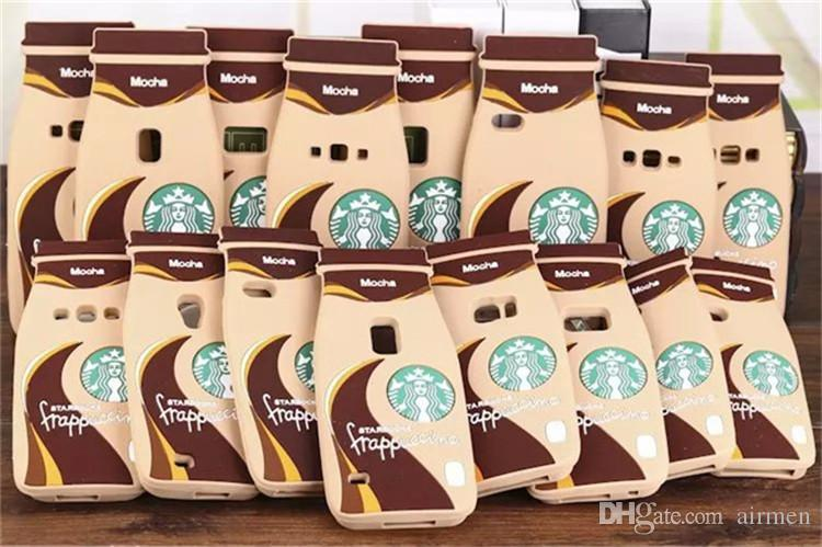 Fashion 3D Starbuck Mocha Frappuccino Bottle Coffee Cup Silicone Case for iPhone 4 4s 5 5s 6 6 Plus 6S/6S Plus DHL