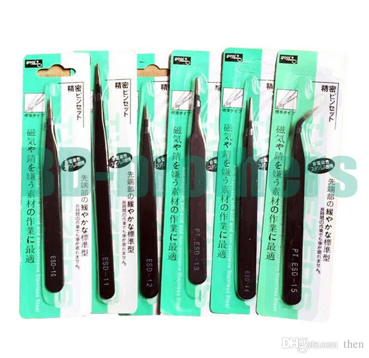 Wholesale 1.0mm Black PT Antistatic Medium Carbon Steel Tweezers Nipper ESD 10 11 12 13 14 15 for Phone Repair Mend Beauty Tools