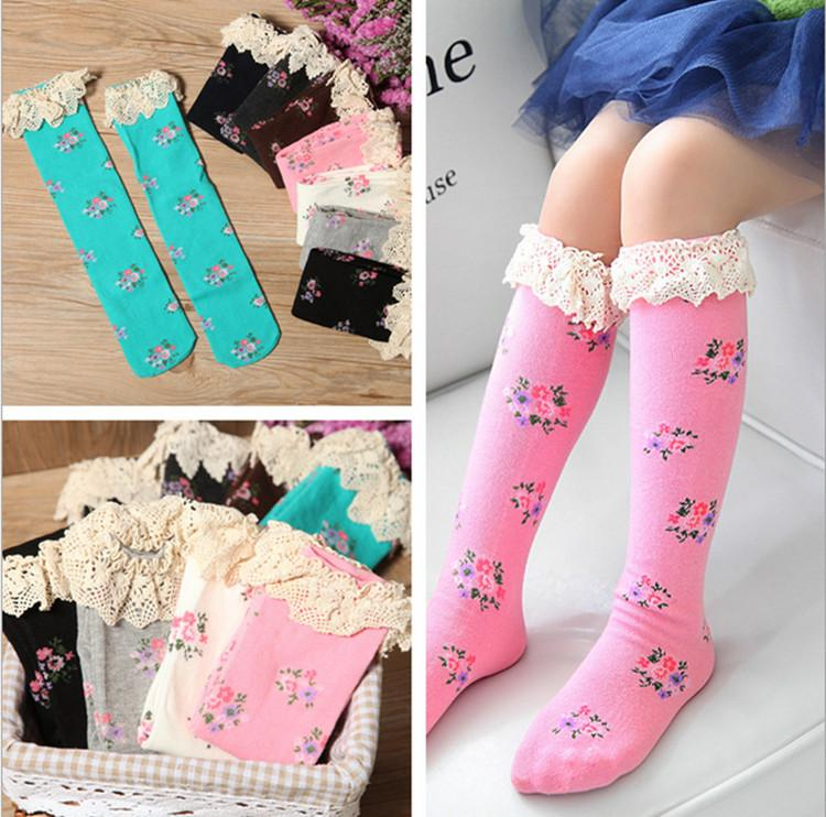 Cute Long Socks Girls Stockings Knit Knee Boot High Socks Children Kids Floral Lace Legging Socks Spring Autumn Stocking Dhl Online With 1 83 Piece On