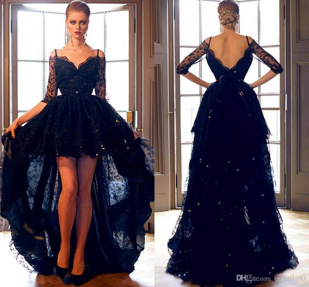2015 Sexy Black Lace Half Sleeve Prom Dresses Sweetheart