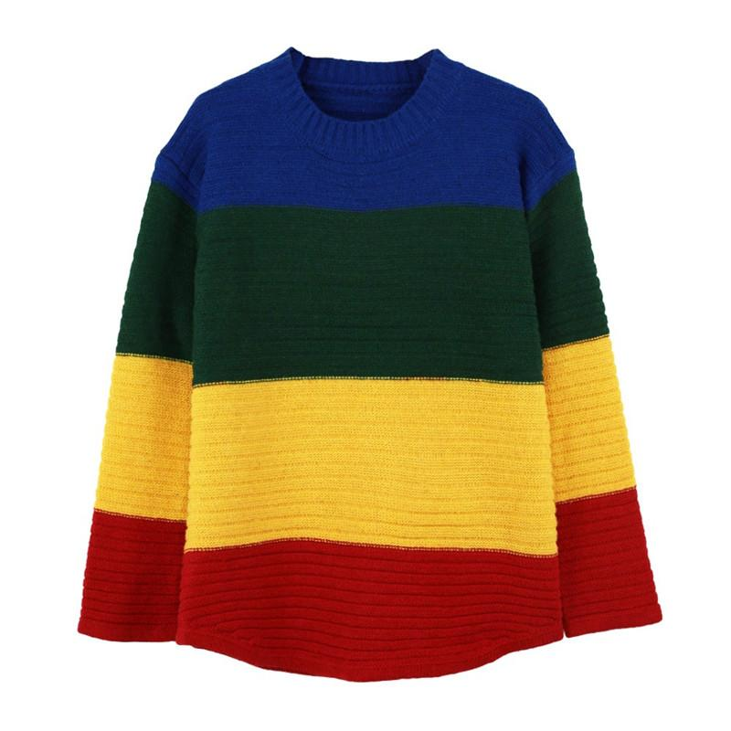 2018 Trendy Contrast Rainbow Color Long Sleeve Slouchy Pullover ...
