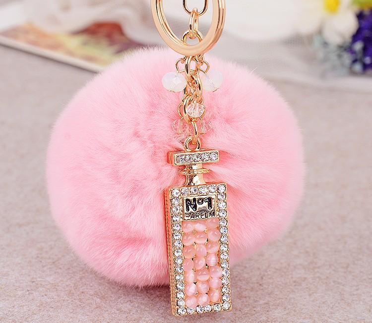 Mode Lange Parfum Flessen Maomao Bal Auto Sleutelhanger Accessoires Aangepaste Groothandel Gift Bag