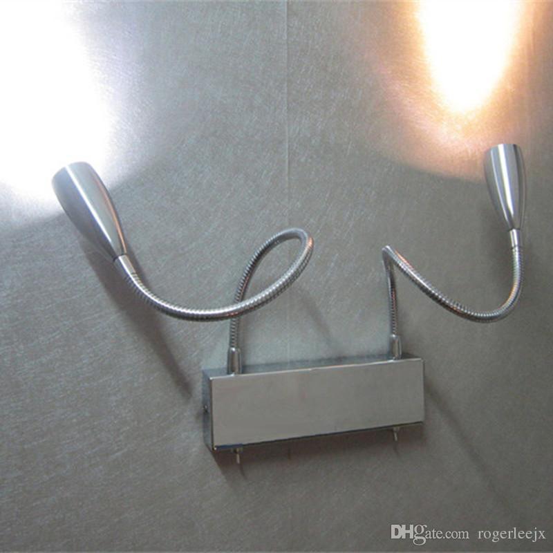 Topoch Wall lampe Light Dual Swing bras 2x3Watt LEDS fonctionnant indépendamment par Twin Commutateurs d'éclairage Angles Réglable Feuille étroite AC100-240V