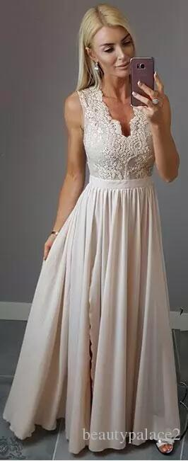 2018 Stylish Lace Chiffon Prom Dresses Sexy V Neck A Line Front Split Long Evening Gowns Cheap Maid of Honor Dress